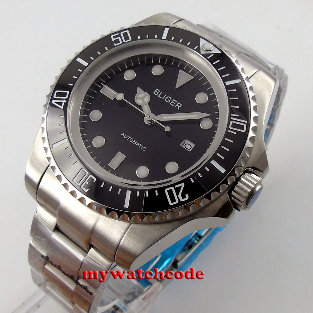 44mm bliger black dial luminous date Ceramic Bezel automatic mens wrist watch 65 dayocra black 65