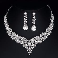 Delicado teardrop austríaco cristal Juegos de joyería plata color para nupcial boda collar y Pendientes Sets mujeres fashin joyería