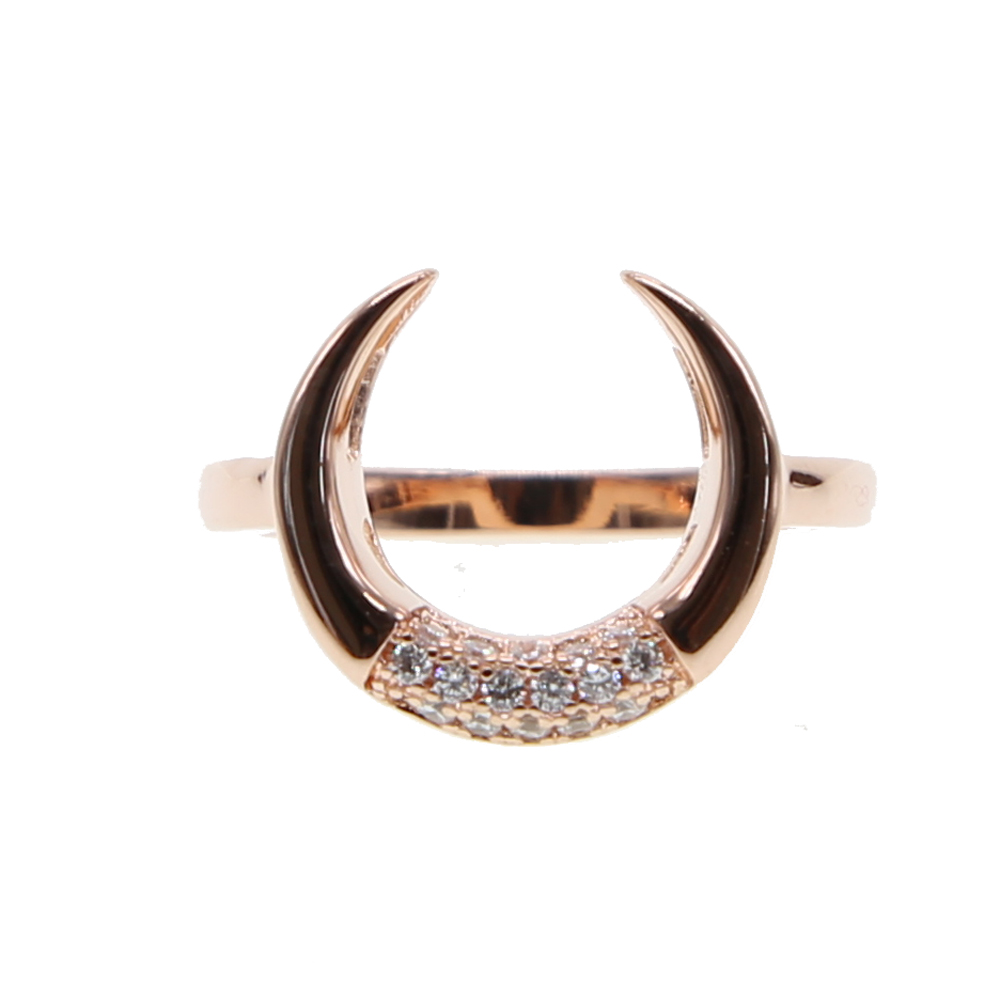 rose gold fashion jewelry size 6 7 european women gift double horn cz crescent moon fashion finger ring lovely gift for girl