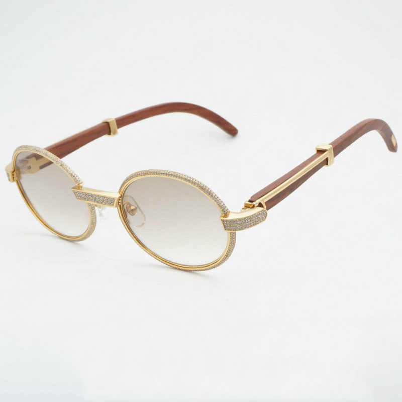 0509e74a6d Luxury Diamond Sunglasses Wooden Eyeglasses Retro Shades Men Stone Sun  Glasses Round Metal Rhinestone Glasses Frame