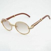Роскошные бриллиантовые очки деревянные очки ретро оттенки Для мужчин каменные солнцезащитные очки круглые металлические очки со стразам