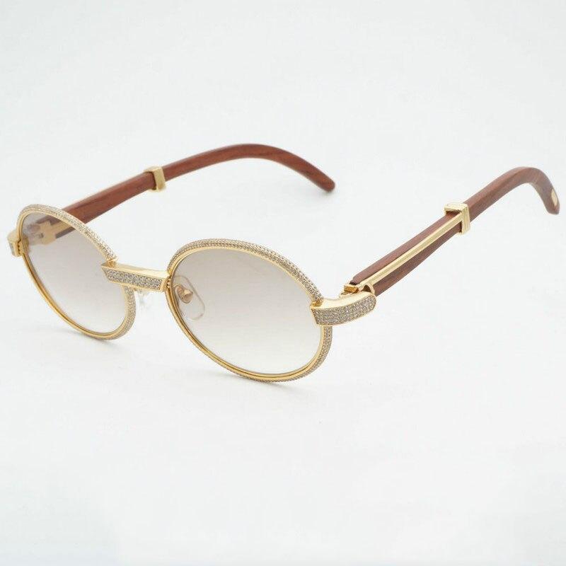 Di lusso del Diamante Occhiali Da Sole Occhiali Da Vista In Legno Retro Shades Uomini di Pietra Occhiali Da Sole Rotondi Occhiali di Strass In Metallo Occhiali Telaio Occhiali