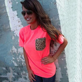 Estilo del verano elegante O cuello manga corta estampado de leopardo de la mujer camiseta