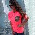 Verão estilo elegante O pescoço manga curta estampa de leopardo das mulheres t-shirt