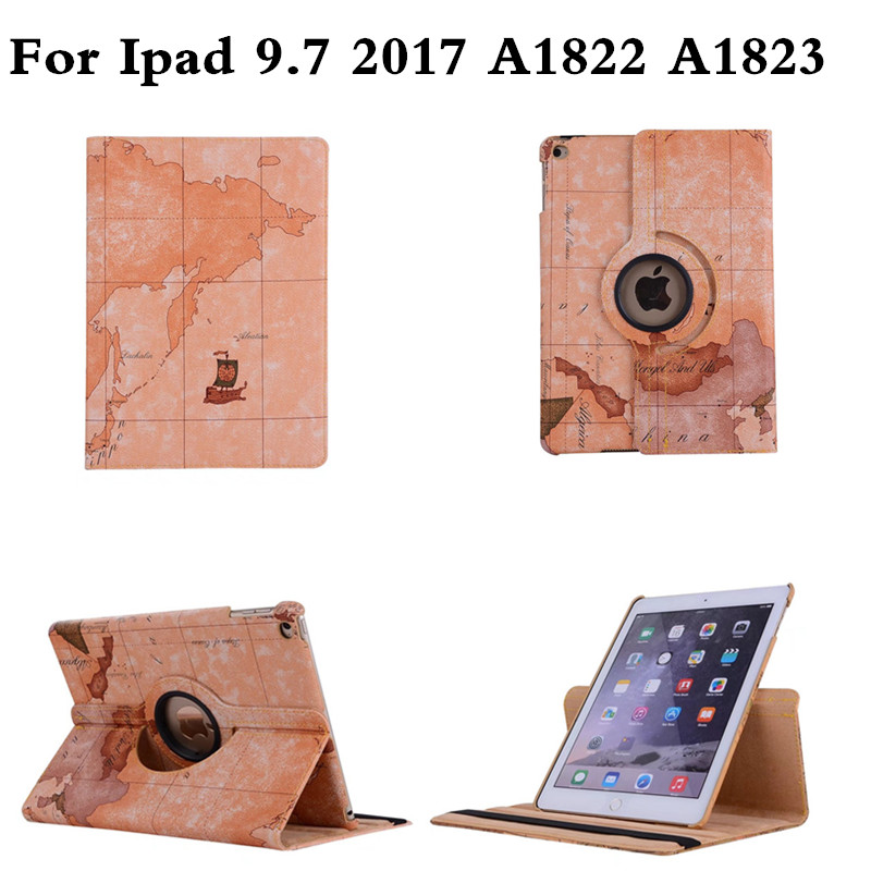 Tablet Case for iPad 9.7 2017 360 Rotation Flip With Stand Function PU Leather Map Style for New iPad 9.7'' A1822 A1823 Cover pu leather book flip cover case for new ipad 9 7 2017 release a1822 a1823 model tablet folio stand cases luxury black gold