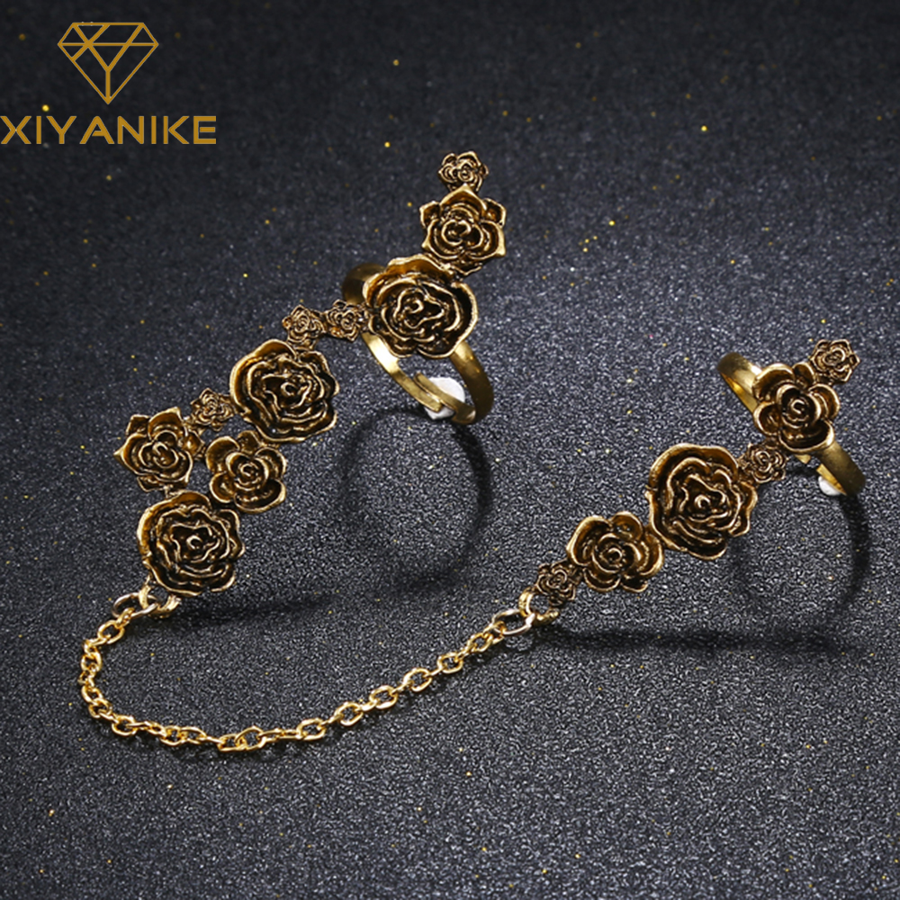 XIYANIKE 2017 Big Band Big Ring Vintage Stone flower Antique Rings For Women Round Oval Square Ring Sets Turkish Jewelry R26