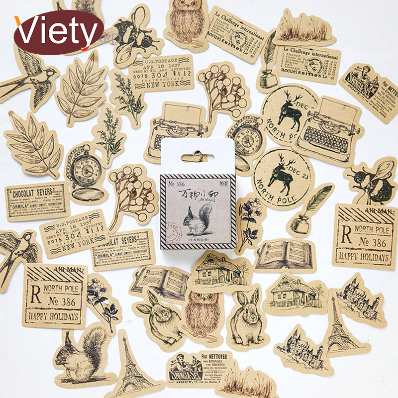 46 Pcs/lot Vintage Small Animals Paste Mini Paper Sticker Decoration DIY Ablum Diary Scrapbooking Label Sticker Kawaii