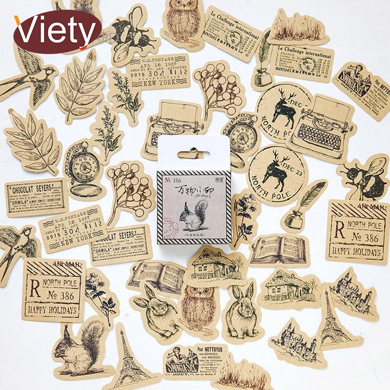 46 Pcs/lot Vintage Small Animals Paste Mini Paper Sticker Decoration DIY Ablum Diary Scrapbooking Label Sticker Kawaii