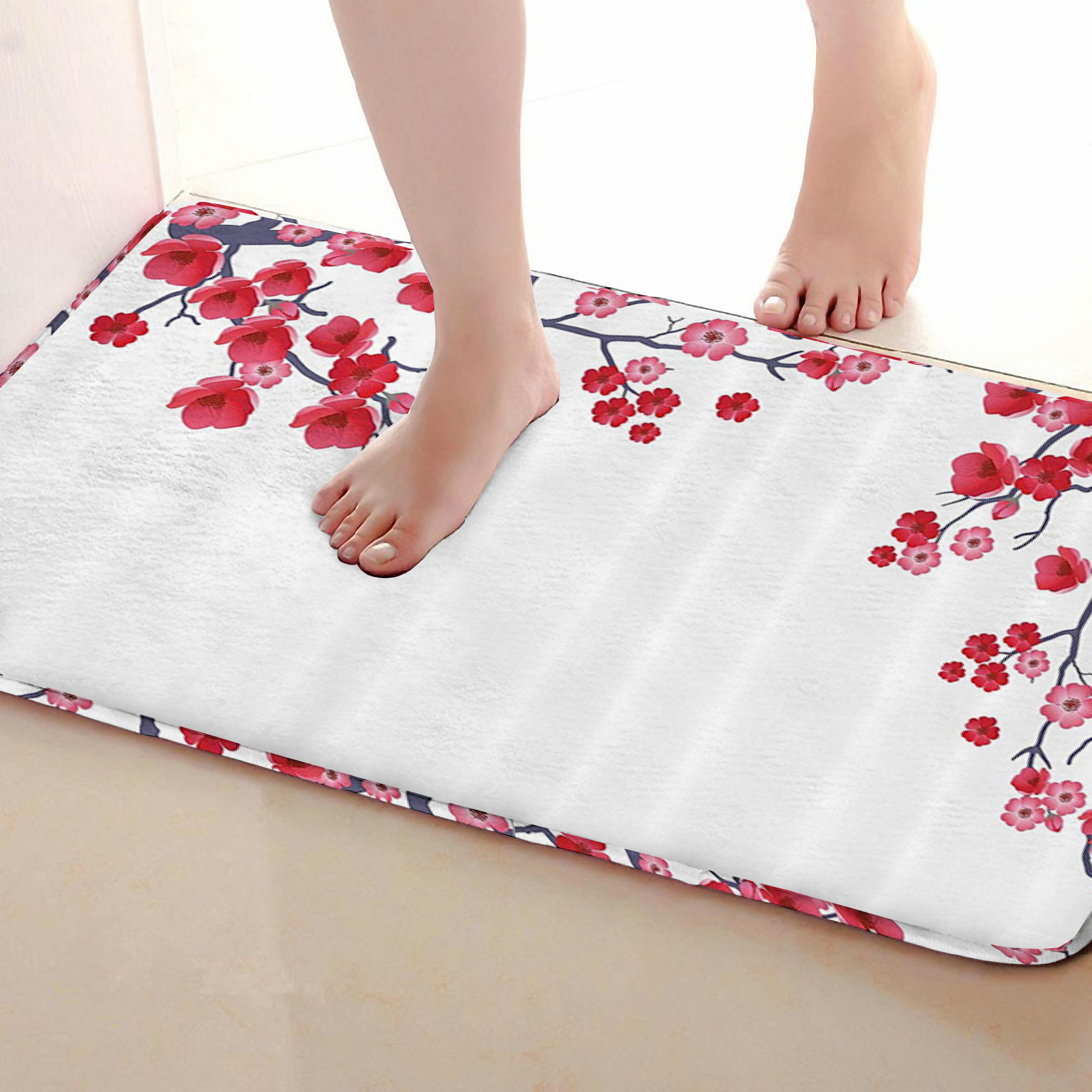 Plum blossom Style Bathroom Mat,Funny Anti skid Bath Mat,Shower Curtains Accessories,Matching Your Shower Curtain