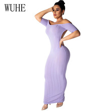 WUHE 2019 Summer Women Sexy Ribbed Backless Maxi Knitted Party Dress Stretchy Short Sleeve Off Shoulder Bodycon Long Club Dress ribbed lace insert short jumper dress