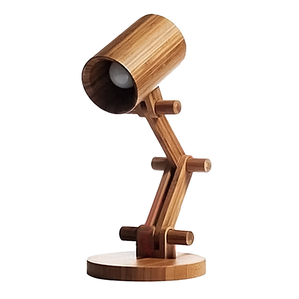 Nordic Wood Table Lamp for Bedside Cute Cartoon Design Vintage Coffee Shop Desk Lamp cartoon wood