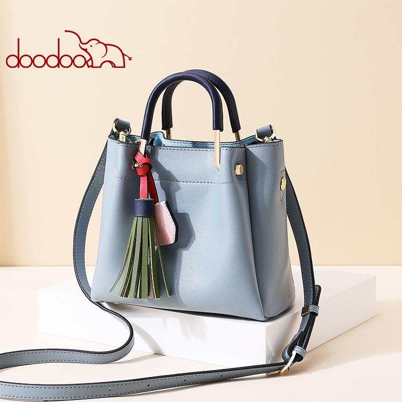 Doodoo female bags 2018 new fashion  tassel atmosphere bag hit color handbags female Korean version of the simple wild handbag tassel bag backpack 2018 korean new