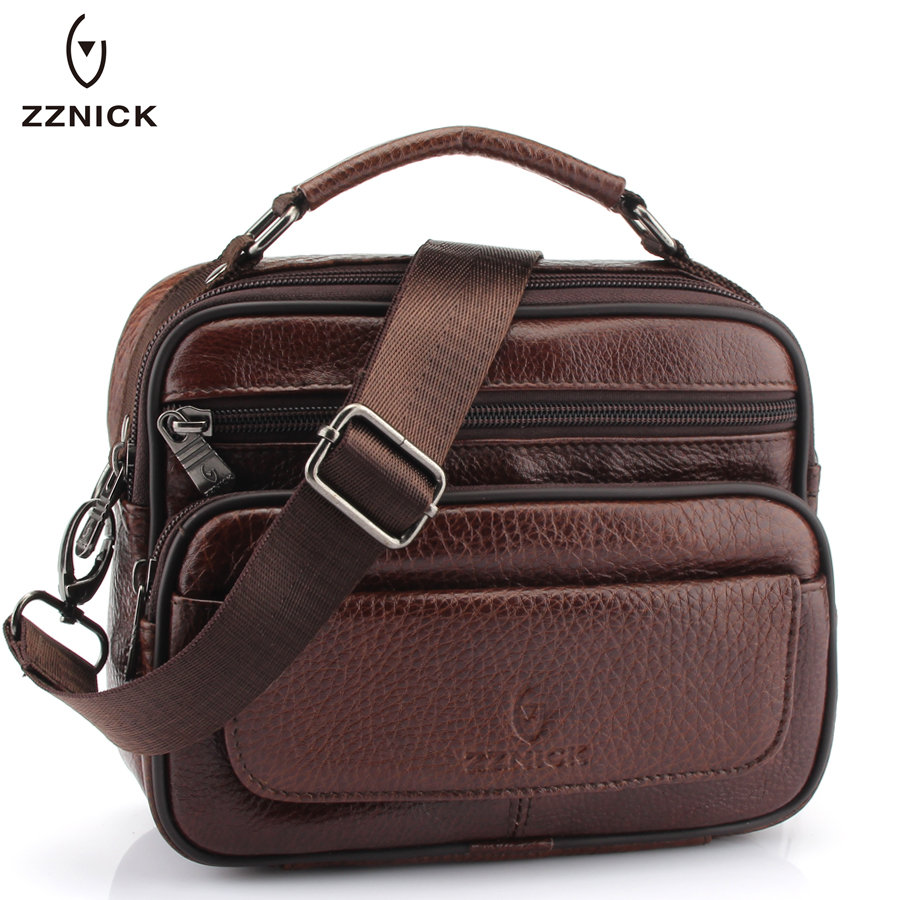 ZZNICK 2018 New Small Men Bag Genuine Cowhide Leather Shoulder Bag ,Men Small Messenger Bags Men Travel Crossbody Bag Handbags new style alligator genuine leather small messenger bags for men crossbody bag cowhide men single shoulder bag male handbags