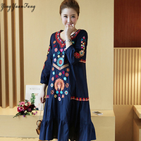 YingYuanFang Fashion new women national wind embroidery elegant hot mom dress