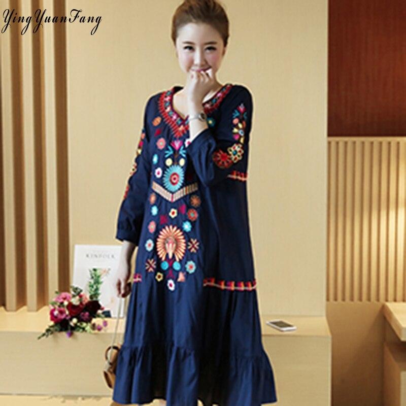 GemäßIgt Yingyuanfang Mode Neue Frauen Nationalen Wind Stickerei Elegante Hot Mom Kleid RegelmäßIges TeegeträNk Verbessert Ihre Gesundheit