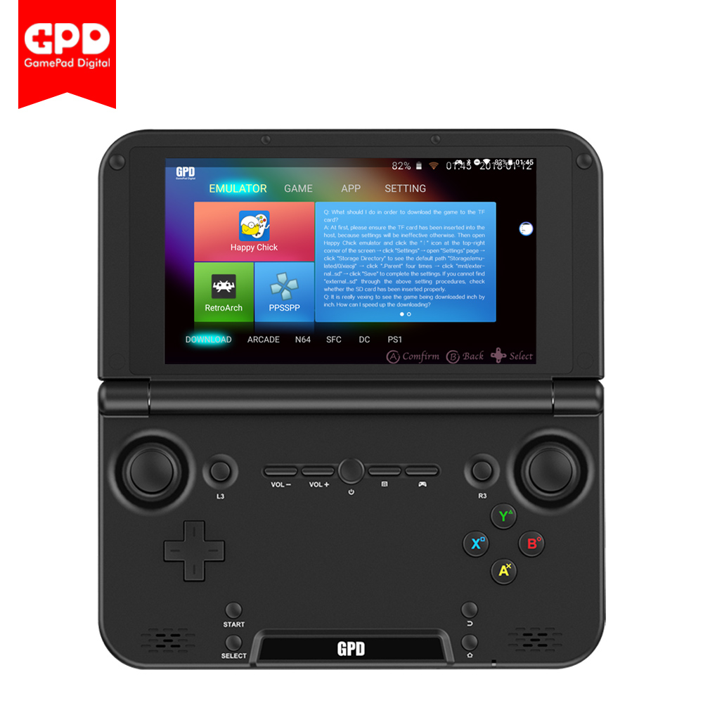 New Original GPD XD Plus 5 Inch 4 GB/32 GB Android/Linux 7.0 CPU MT8176 Hexa-core Handheld Game Console Laptop ( Black ) gpd xd 5 inch touchscreen quad core cpu mali t764 gpu 2gb ram and 32gb rom handheld game player handheld flip video game console