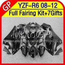 7gifts For YAMAHA YZFR6 ALL Black  YZF-R6  YZF600 P974 YZF R6 08 09 10 ALL Gloss black 11 12 2008 2009 2010 2011 2012 Fairings