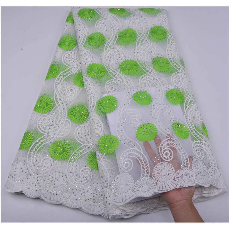 New Arrival African Lace Fabric 2018 High Quality Green flower Lace Fabric Nigerian Lace Fabrics For