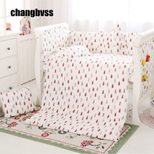 Free Shipping Baby Crib Bedding Set Baby Bedding Newborn Baby Bed Linens Set For Girl Boy Tree Design Crib Bumper Baby Cot Set