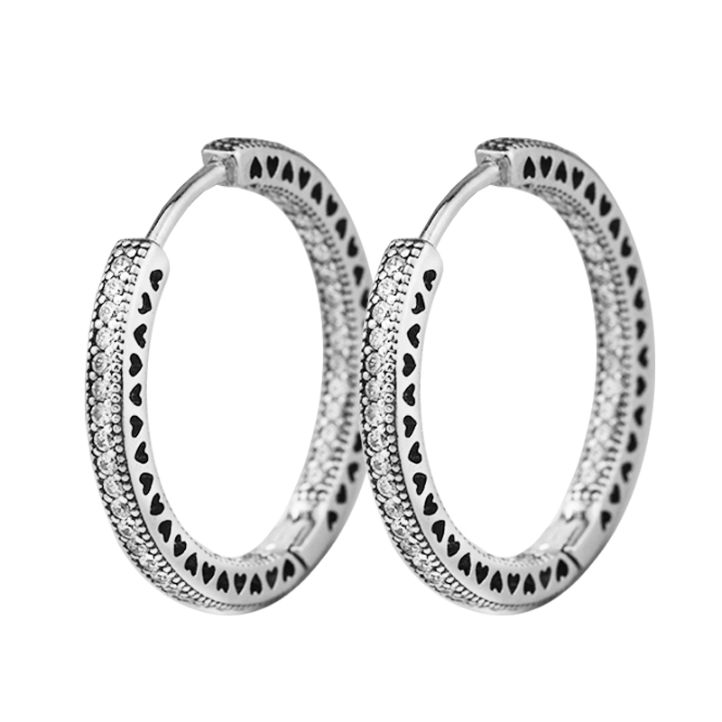 2017 New Silver Earring 925 sterling silver Hearts of Signature Hoop Earrings with Clear CZ charms DIY making Size 23mm FE831