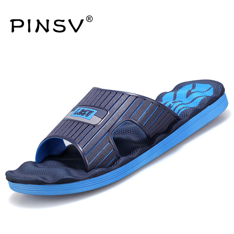 PINSV Indoor Shoes Men Slippers Summer Sandals Men Flip Flops Beach Sandals Slides Slippers Men Shoes Sandalias Hombre Chausson plush winter slippers indoor animal emoji furry house home with fur flip flops women fluffy rihanna slides fenty shoes