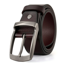New cow genuine leather belts for men vintage style pin buckle luxury designer cowskin fashion Strap Jeans