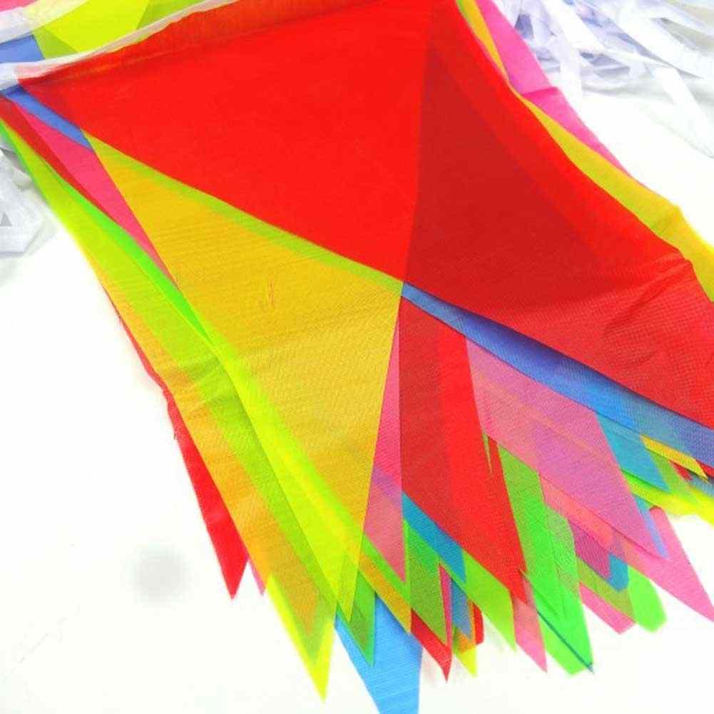 カラフルな三角形ペナントフラグ 8 メートルの文字列バナーお祝いパーティー & ホリデー DIY 装飾アクセサリーウェディングクリスマスストラップ