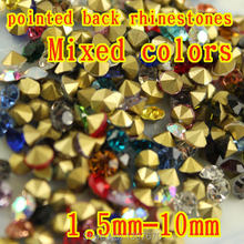 Mixed Colors Mix Sizes 1440pcs ss4 to ss25 Point Back Rhinestones glass  strass chaton stone 57bd4d37cd93