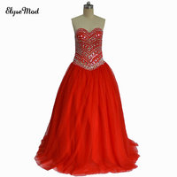 Real Photo Luxury Heavy Beading Red Quinceanera Dresses Long Puffy Ball Gown Crystal Sweetheart Tulle Vestidos