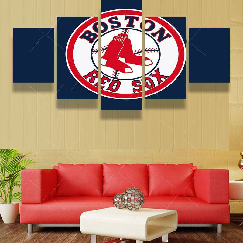 5 Pcs Boston Red Sox Sports Team Fans Oil Painting On Canvas Modern Home Pictures Prints Liveing Room Deco Fans Posters Bedroom