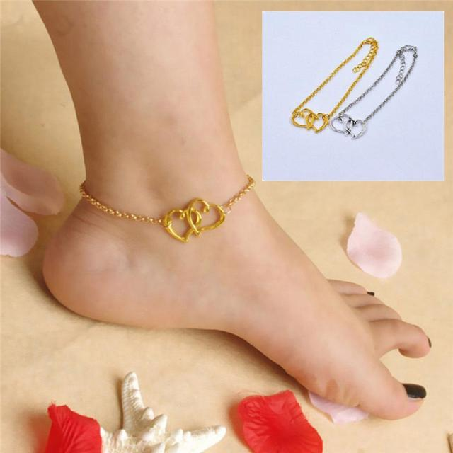 sandal sexy women bracelet chain heart bracelets female jewelry beach double fashion ankle anklet item