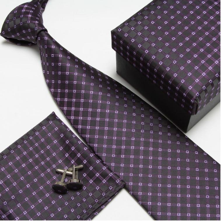 Мужская мода высокого качества полосатый набор галстуков галстуки Запонки hankies шелковые галстуки Запонки карманные носовые платки - Цвет: 9