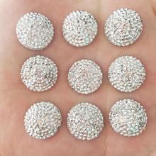 DIY 20 шт 16 мм выпуклые круглые смолы камень Flatback Свадебные пуговицы ремесло/серебро F097