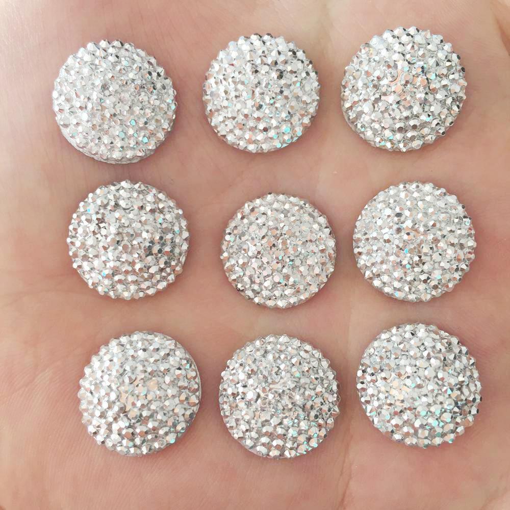 DIY 20 шт 16 мм выпуклый Круглый камень из смолы Flatback Свадебные бутоньерки ремесло/серебро F097