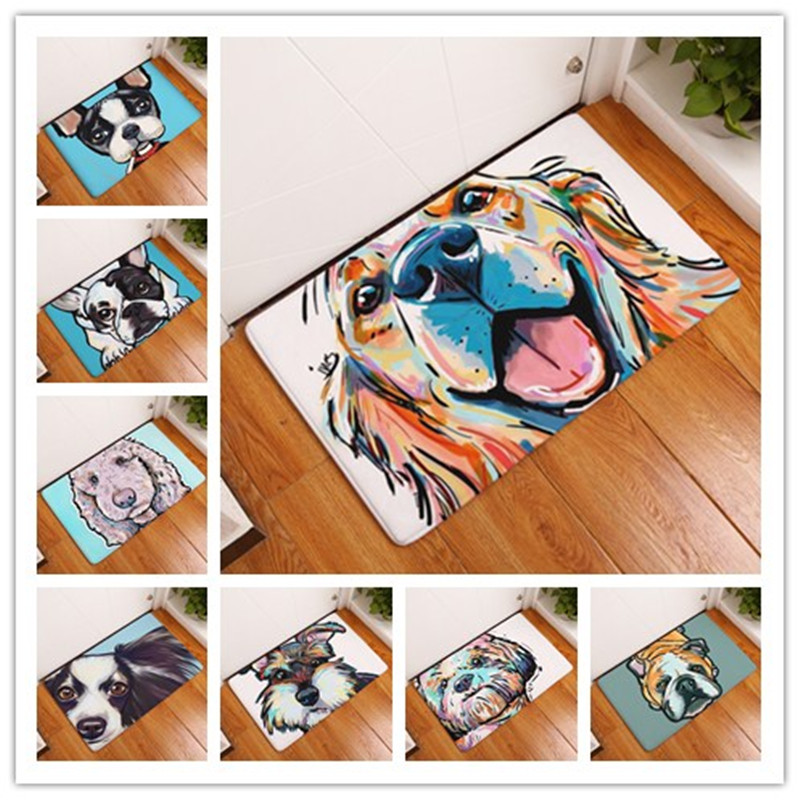 Flannel Floor Mats Dog Printed Bedroom Living Room Carpets Cartoon Pattern  Mat For Hallway Anti Slip Tapete