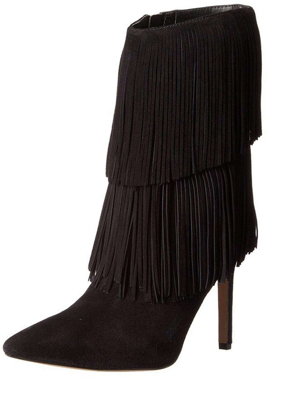 6ba22eb78 2016 Nova moda Apontou toe zíper Mulheres Sapatos stiletto salto Alto botas  de inverno borla mulheres Franjas personalizar bombas big size15
