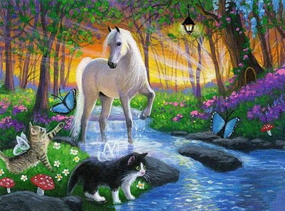 2017 Cats and horses Full Diamond Hand made home Decor diy 5d diamondpainting scenery Needlework Crafts cross stitch mosaic