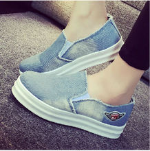 Freeshipping Best selling Low cost Promotion  Round Toe Casual Denim Canvas Shoes Fashion Jean Flat Shoes 2 Colors V044