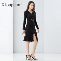 Glouphant 2017 Autumn Winter OL Split Zippers Women Sweater And Pullovers Dresss Women S Knitted Dress
