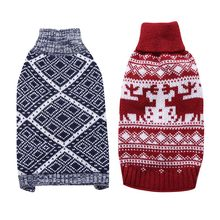 Vintage Pet Dog Sweater Clothes Christmas Elk Diamonds Pattern Style Pets Christmas Themed Holiday Cachorro Sweater Winter()