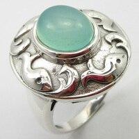 Silver Genuine Aqua Chalcedony Ring Size 8 Gem Stone Jewelry Unique Designed