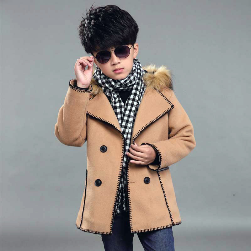 Baby Boy Clothes 2-13years Solid Turn-Down Collar Coat Boys Winter Woollen Costumes Faux Suede Outerwear - Western fashion Co.,Ltd. store