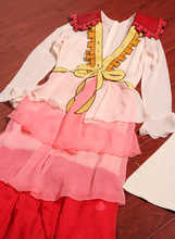 embroidered butterfly knot stitching dresses/women chiffon silk pink dresses/2pcs set  chiffon dresses+suspenders