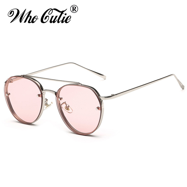3c084e6342 WHO CUTIE 2018 Round pilot Sunglasses Men Women Brand Designer Vintage Pink  Clear Lens Flat Top