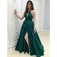 2018 Dark Green Long Evening Dress Halter Backless High Split Beaded Taffeta Formal Prom Gown Custom Made Occasion Dresses Cheap