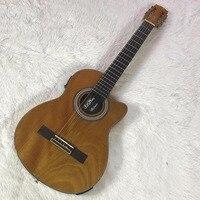38 дюймов Дерево Цвет Классическая акустическая электрогитара оригинальный пикап, шерстяные строка эбеновый гриф