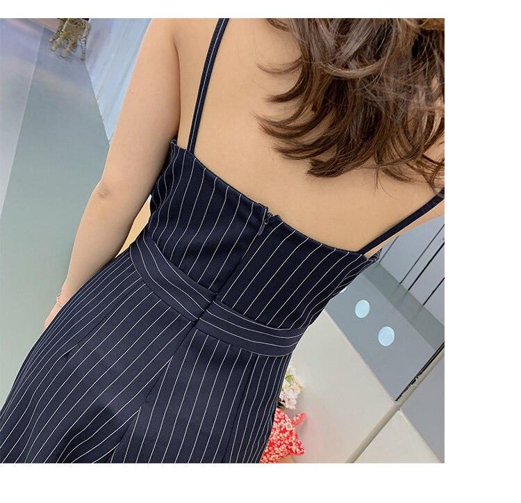 Sling Off Shoulder Sleeveless Striped Jumpsuit 2019 New Fashion V-Neck High Waist Nine Points Wide Leg Jumpsuit Summer 23