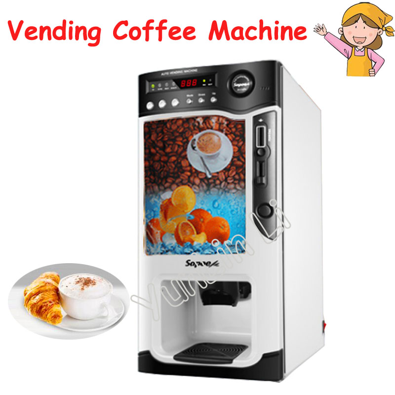 цены Auto Vending Coffee Machine 220V Automatic Instant Coin Operated Tea Coffee Making Machine Hot and Cold Milk Tea Machine