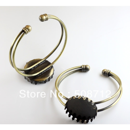 Free shipping!!!! 25mm crown Base Antique Bronze Plated Bangle bracelet cabochons blank base cabs