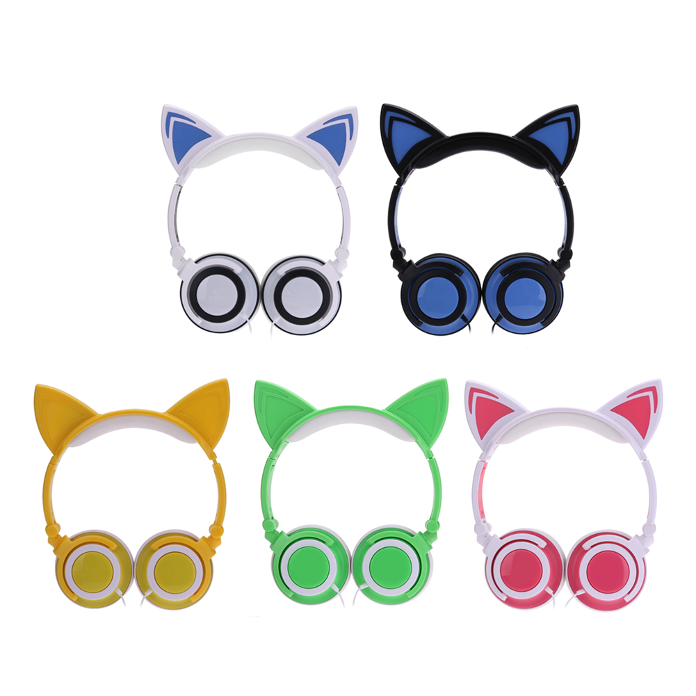 Luminous Headphone Foldable Rechargeable Headphones Cat Ear Shaped Headset Headband Earphone For PC Laptop Computer kz headset storage box suitable for original headphones as gift to the customer
